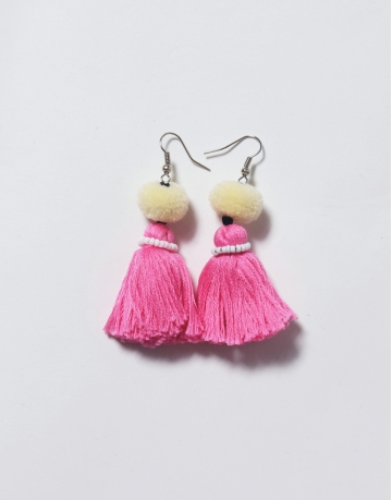 Tassel Earrings Light Yellow/ Pink