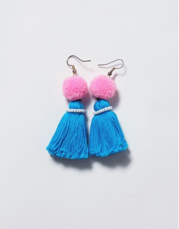 Tassel Earrings Pink/ Blue