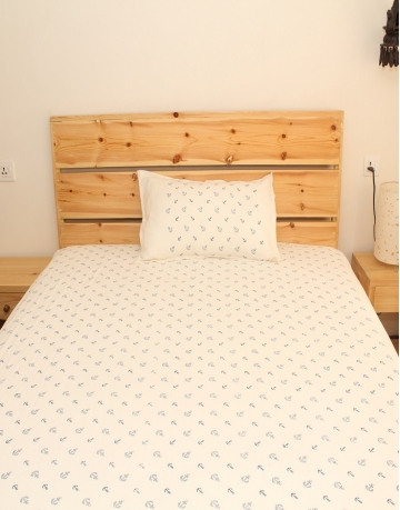 Anchor Printed White Cotton Bed Sheet