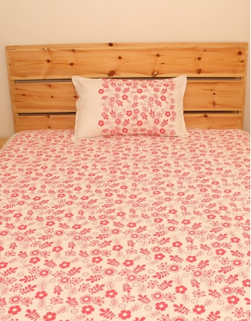 Floral Printed White Cotton Bed Sheet
