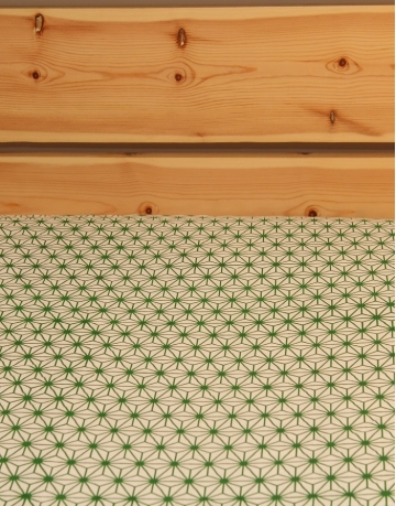 Green Crystal Printed White Bed Sheet